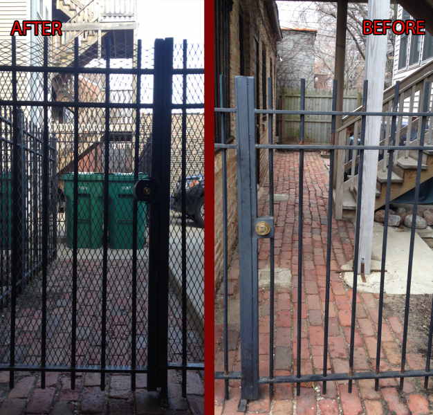 Ironwork Gate Installation with Mesh