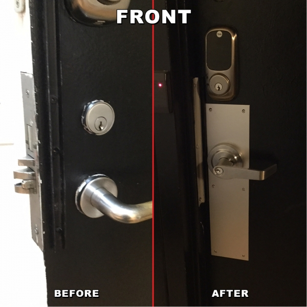 Lock change from mortise lock To leaver and key pad front